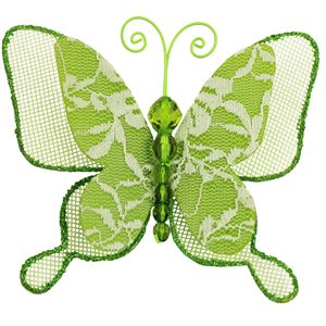 Motýl s klipy zelený X0319