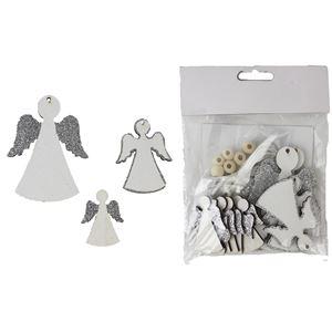 Anděl bílo-stříbrný 12 ks
