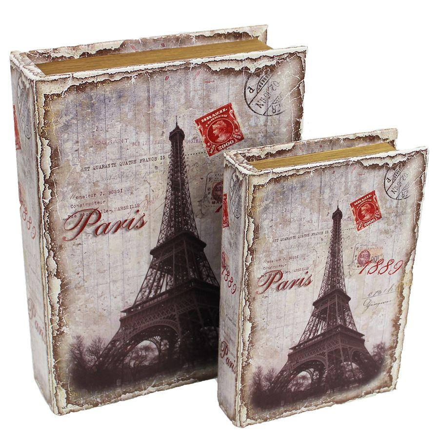Dřevěná kniha Paris, 2ks D0558