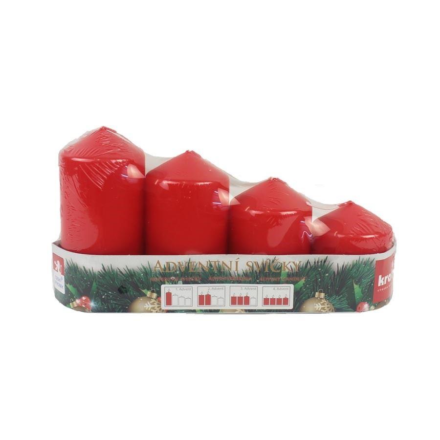 Adventní svíčky postupka 4 ks červená MK0007