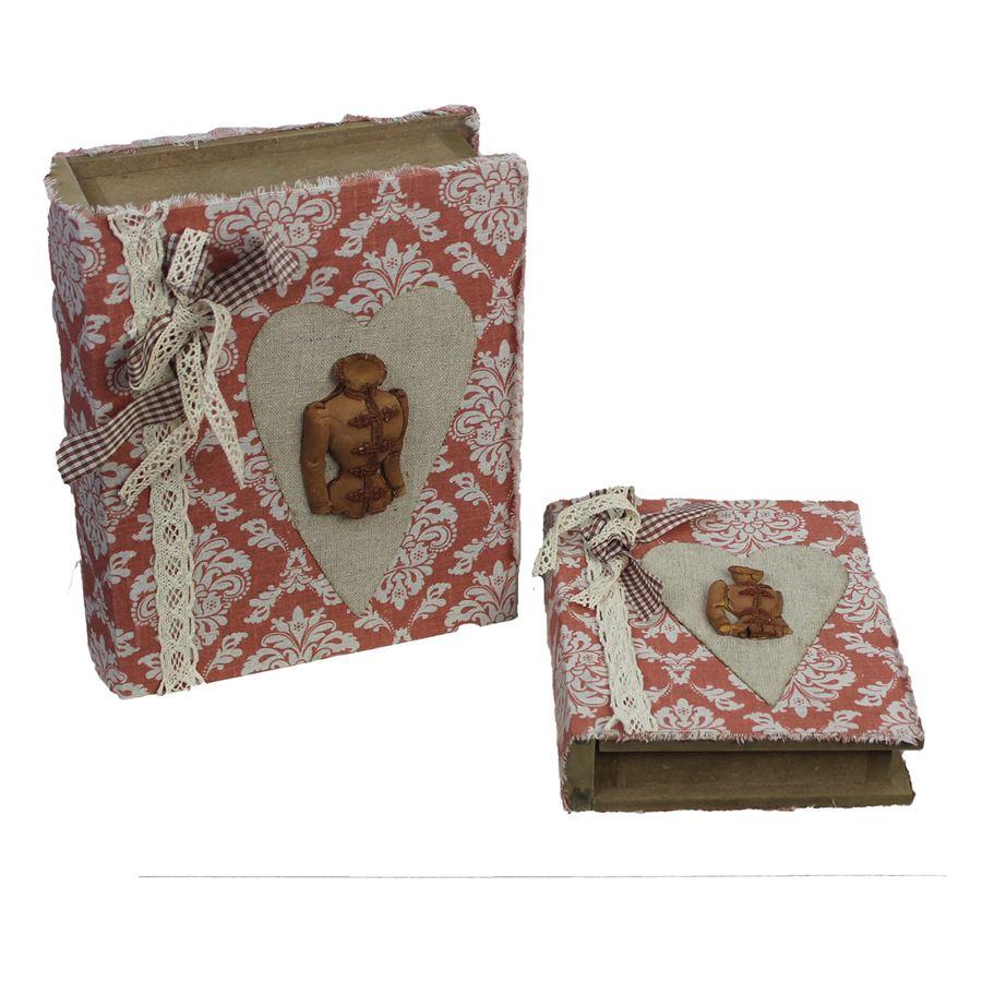 dřevěná kniha, sada 2 ks, D0096