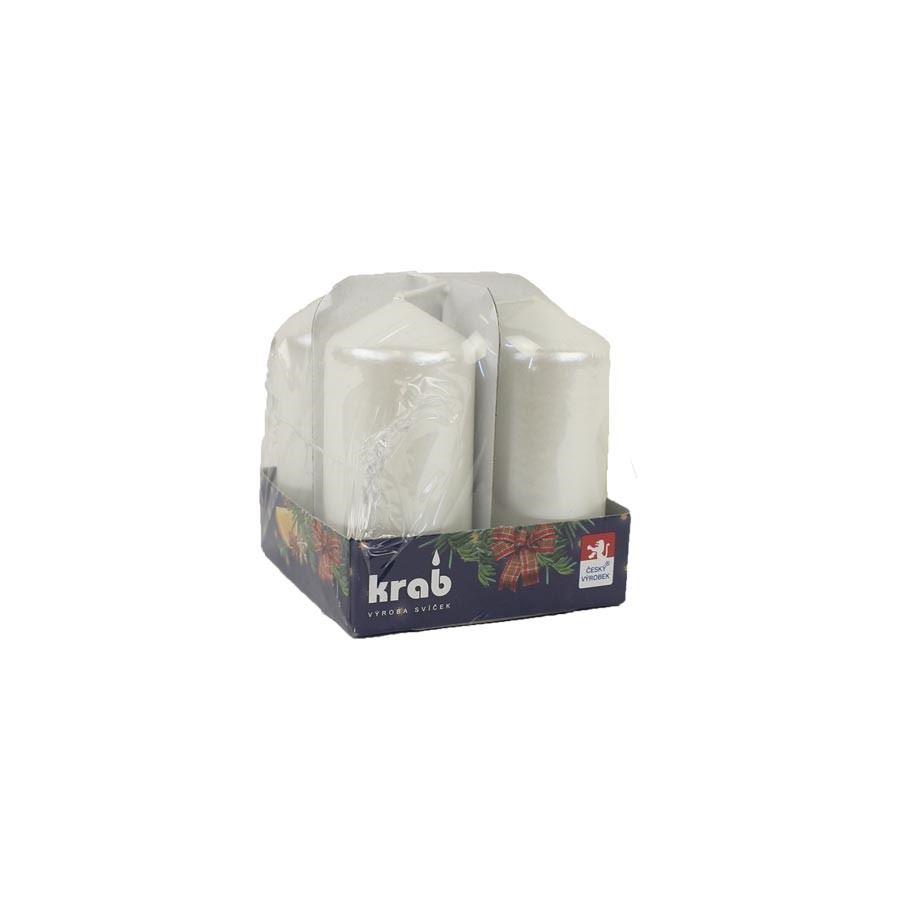 Adventní svíčky 4 ks 40x80 bílá perleť MK0009