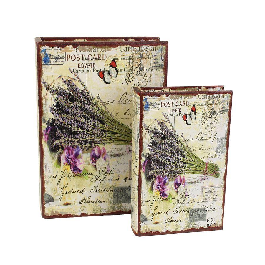 Dřevěná kniha Levandule, 2ks D1616