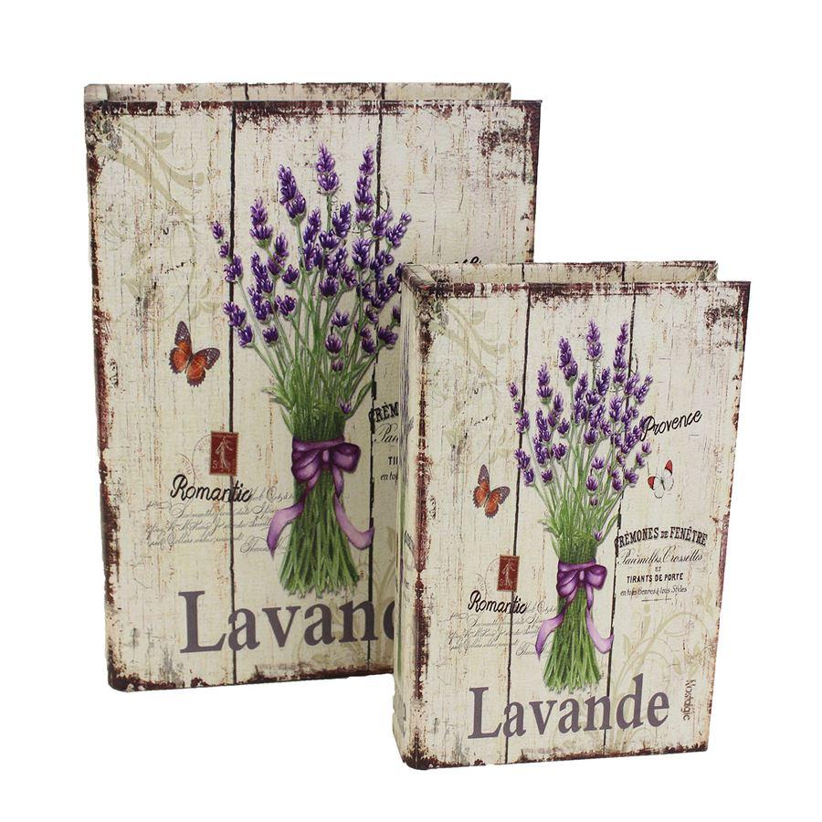 Dřevěná kniha Levandule, 2ks D1619