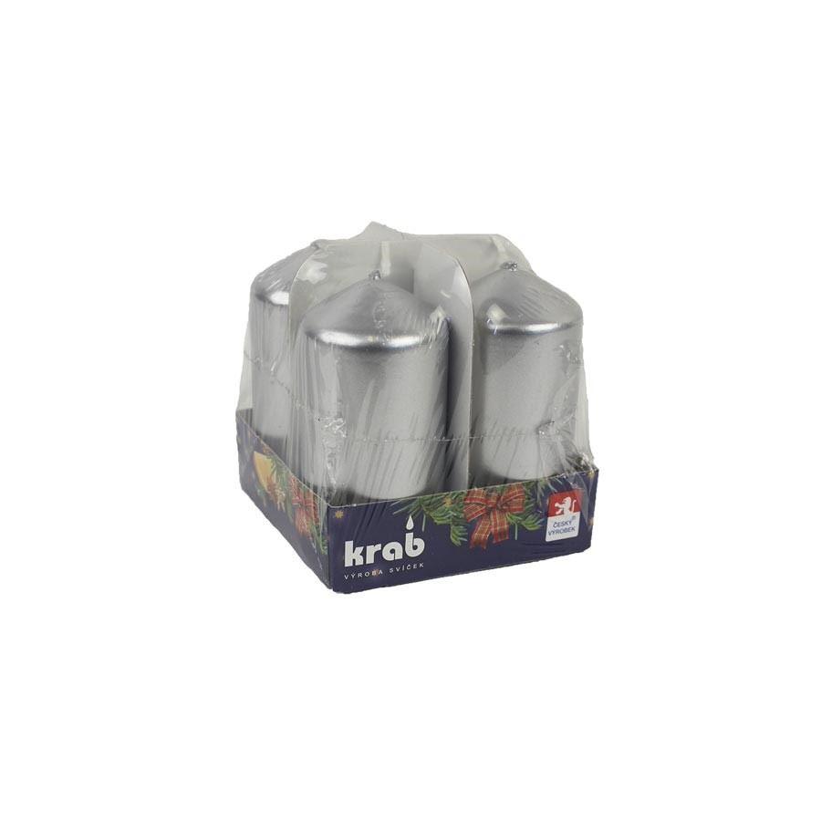 Adventní svíčky 40x80 4 ks lak stříbrná MK0011
