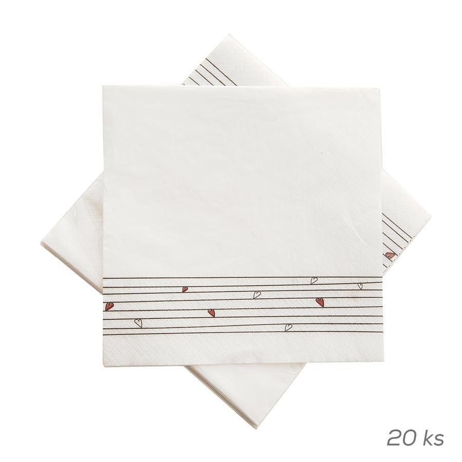 Papírový ubrousek - SRDÍČKA, 20 ks O0075