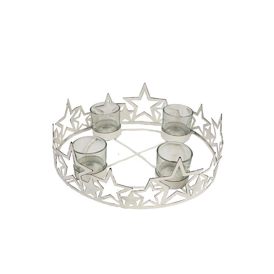 Svícen na 4 svíčky bílý, velký K1571/2