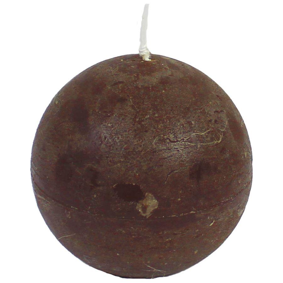 svíčka koule tm.hnědá, pr.8 cm,S0013-17