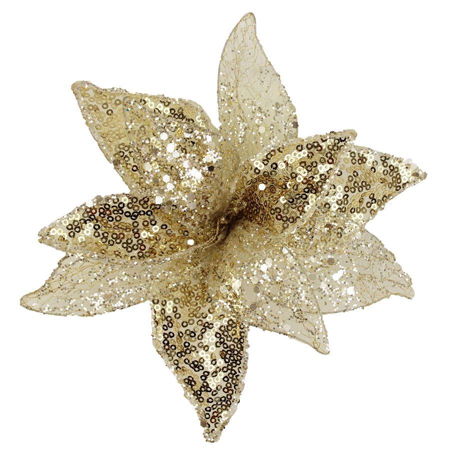 Dekor. květ 20cm, champagne X1661/2