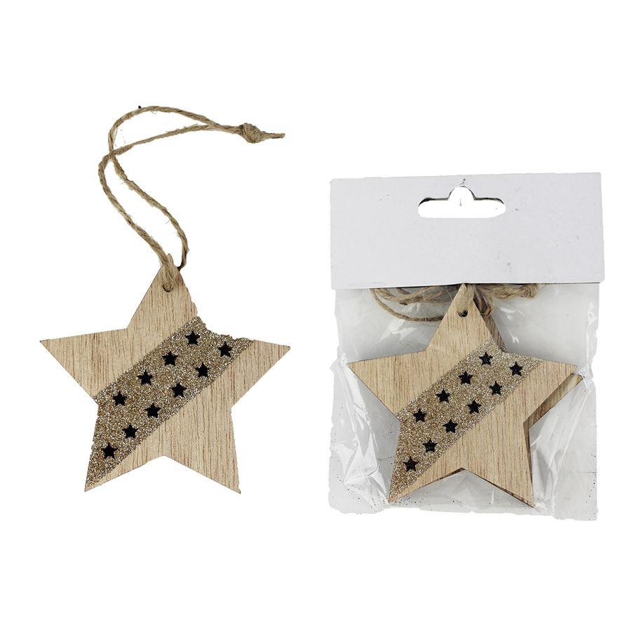 Dřevěná hvězda 2 ks D1795