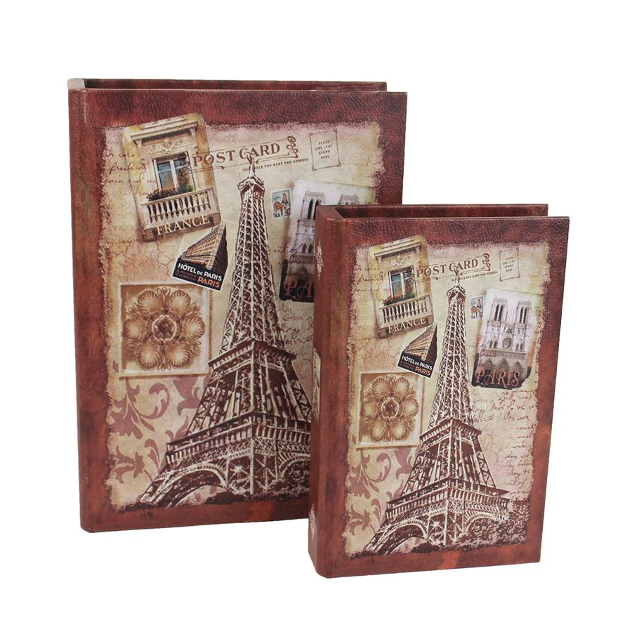 Dřevěná kniha Eiffelovka, 2ks D1620