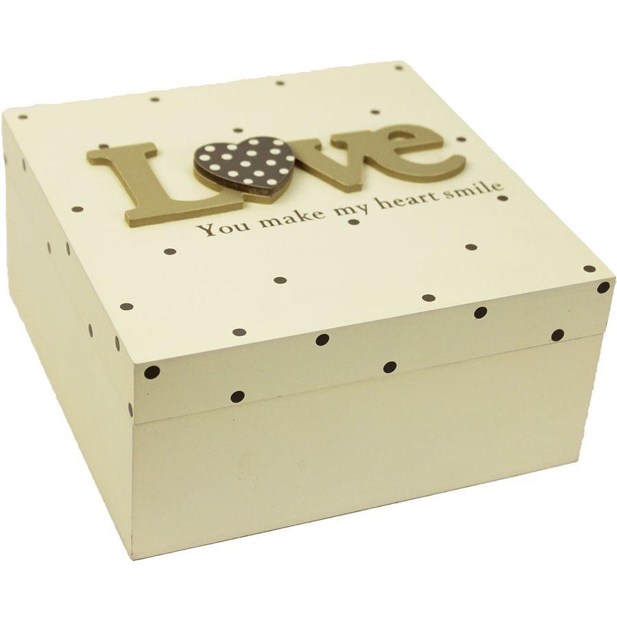 Dřevěná krabička Love D0419