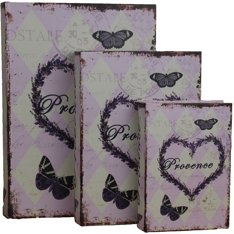 Dřevěná kniha 3ks Provence, 355114