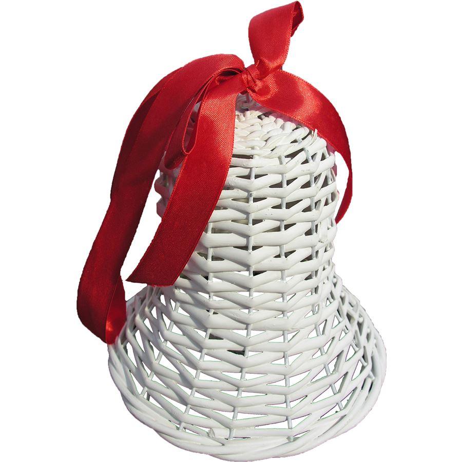 Proutěný zvonek střední červená mašle 381632CM