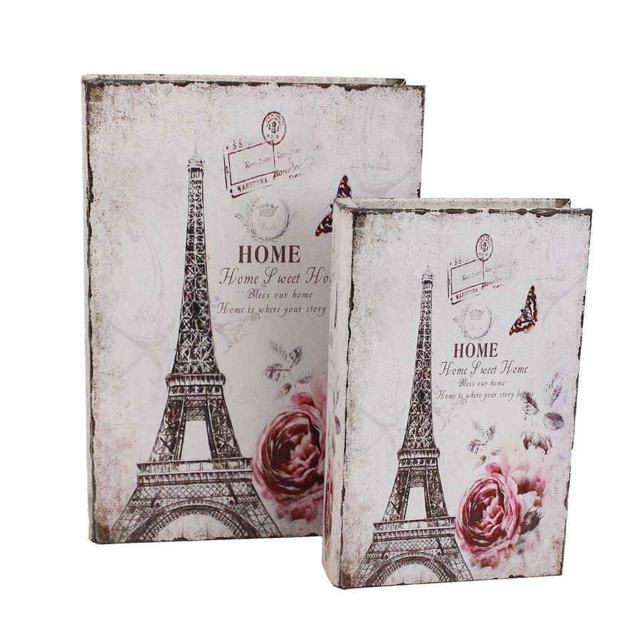 Dřevěná kniha Eiffelovka, 2ks D1617