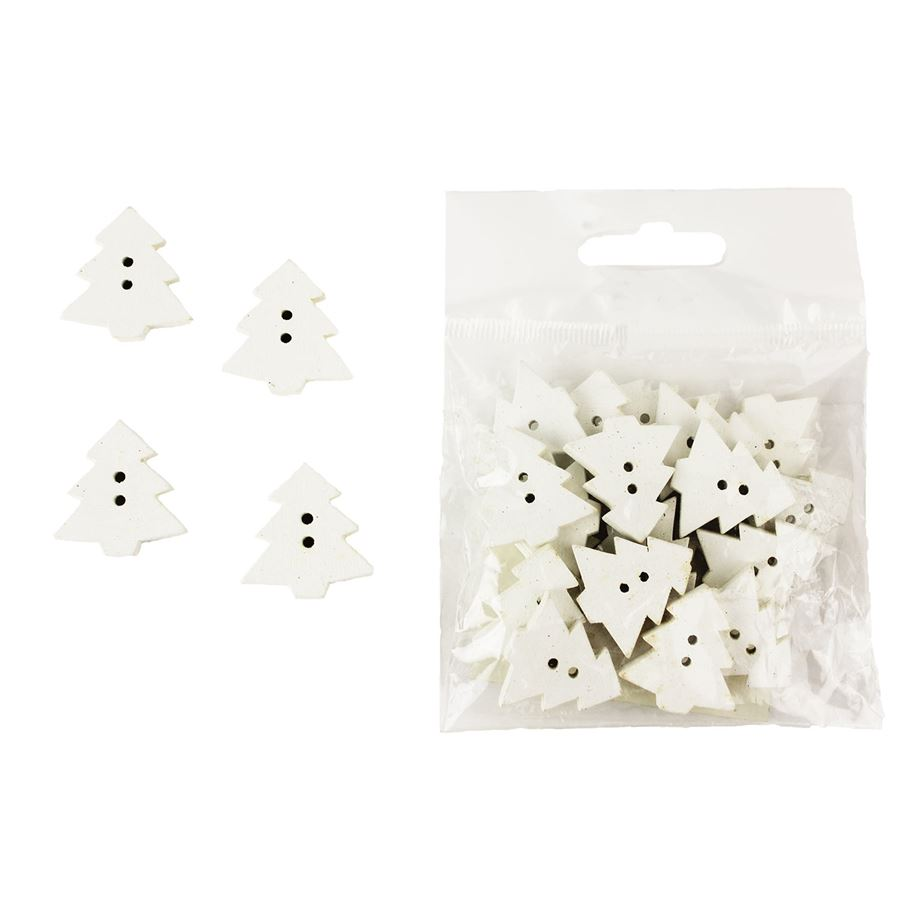 Dekorační stromečky bílé, 24ks D0847/B