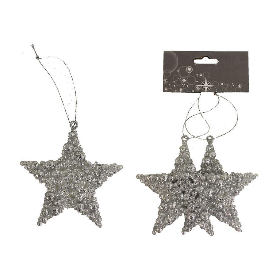 Dekorace hvězda, 2ks X1646/ST