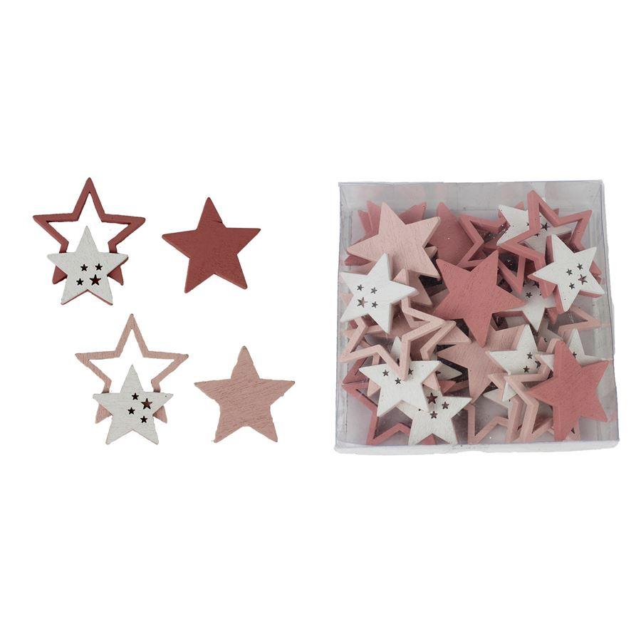 Dřevěná hvězda 24 ks D1762