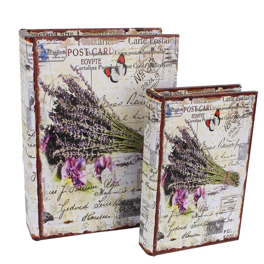 Dřevěná kniha Levandule, 2ks D0992