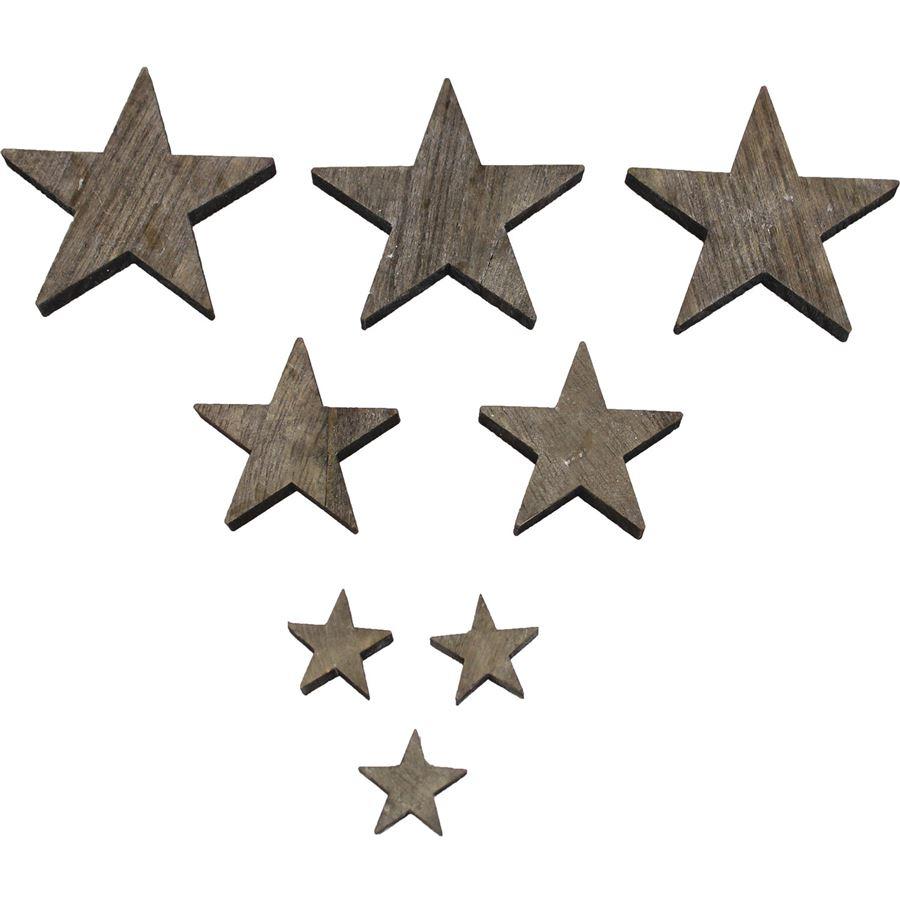 Dřevěné hvězdičky šedé, 30ks D0519