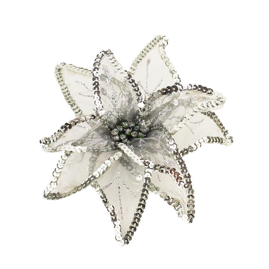 Dekor. květ 20cm, stříbrný X0992