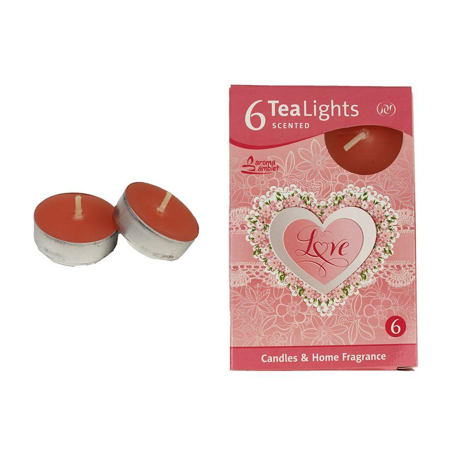 Svíčka čajová LOVE 6ks MSC-TL1036