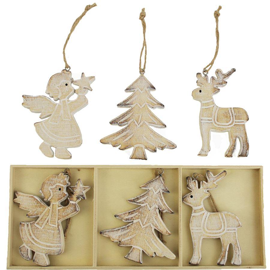 Dřevěné vánoční dekorace, 6ks D0347