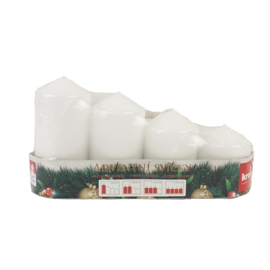 Adventní svíčky postupka 4 ks bílá MK0005